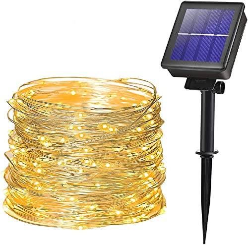 Solar Fairy String Lights for Outdoor 200 LEDs 8 Functions Garden Decoration Copper Wire 66ft Waterproof Outdoor Lighting for Garden Patio Yard Christmas