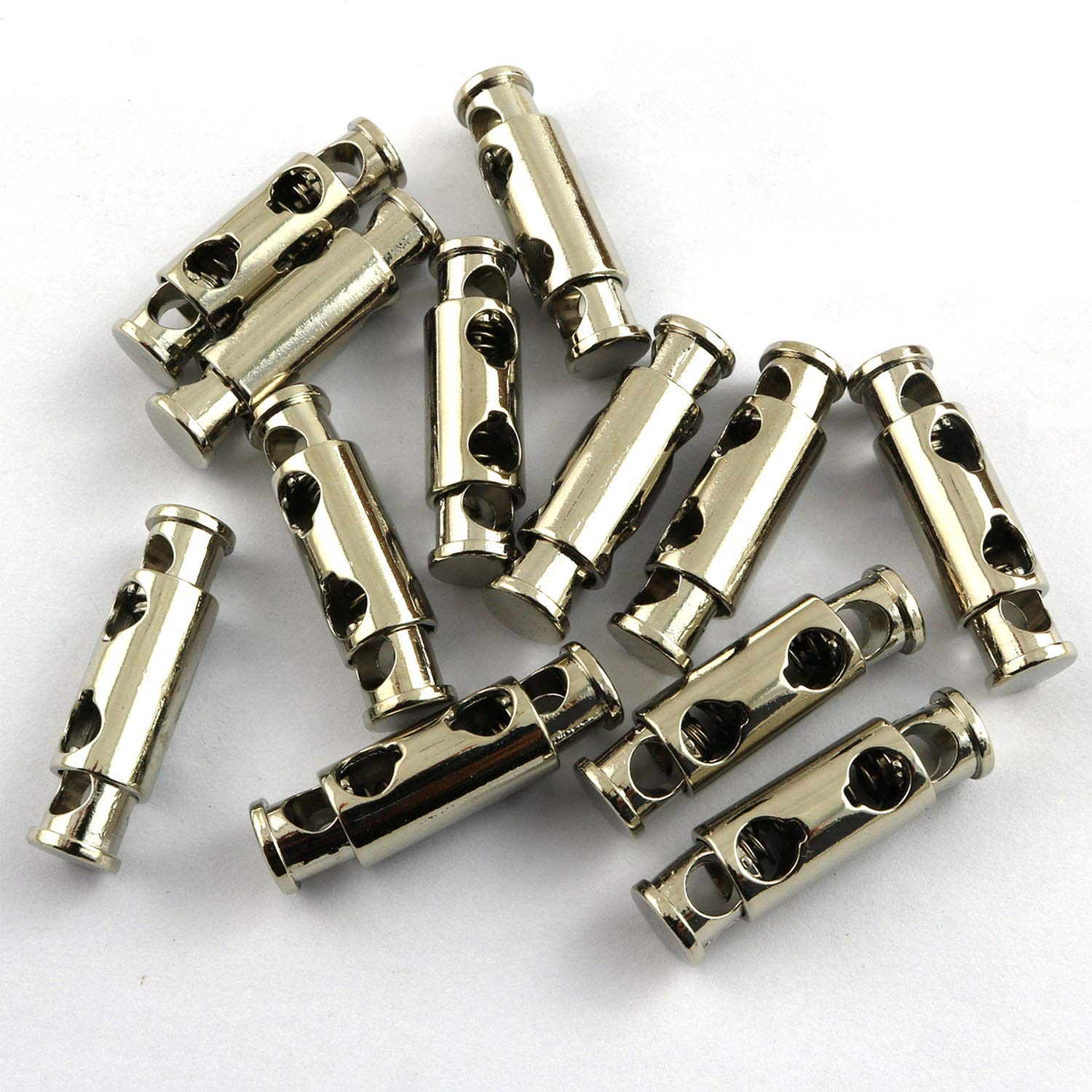 Youliang 12pcs Metal Alloy Spring Fastener Cord Lock Toggle Stopper White Nickel Clothes Shoes Bags DIY Handcraft