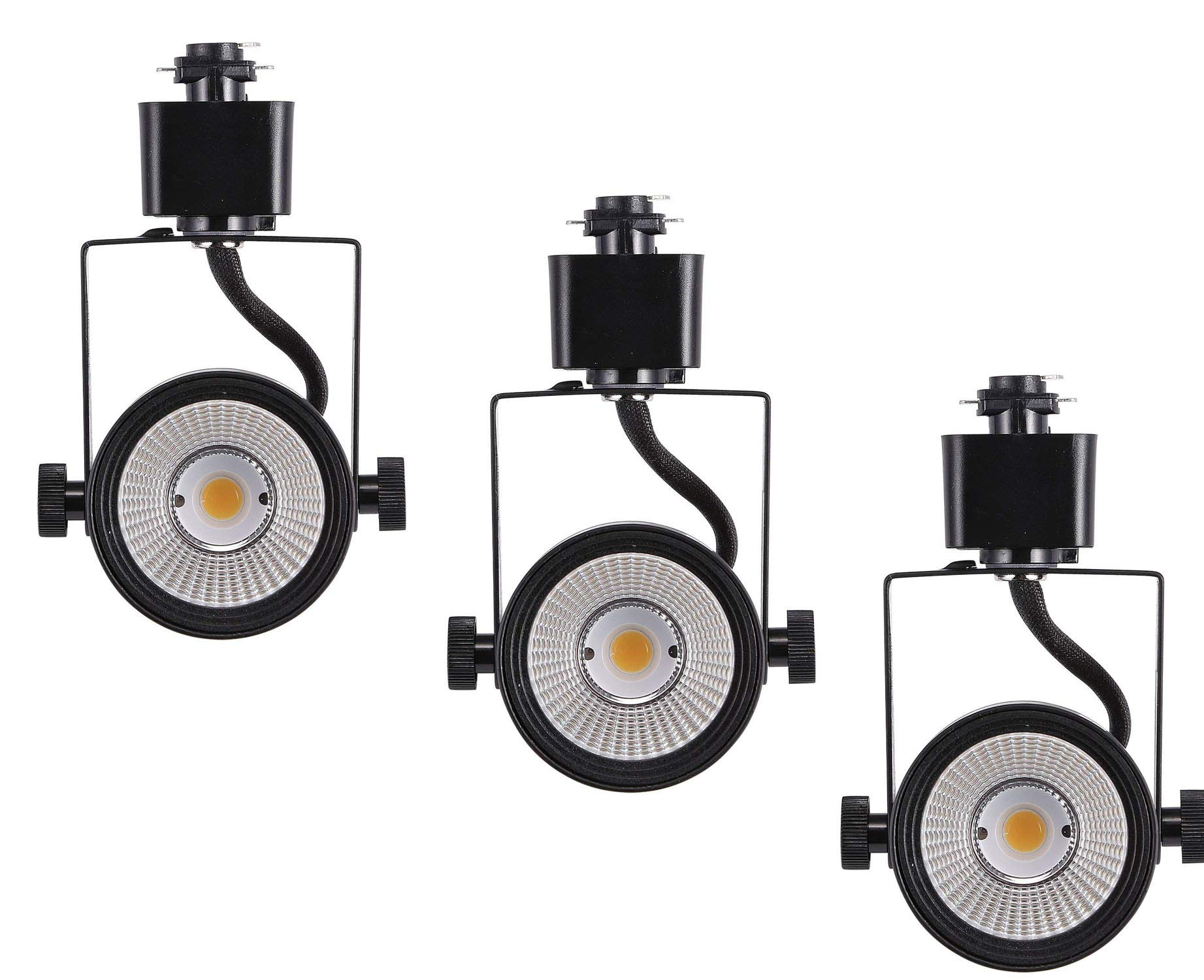 Cloudy Bay LED Track Light Head,CRI 90+ Warm White 3000K Dimmable,Adjustable Tilt Angle Track Lighting Fixture,8W 40° Angle for Accent Retail,Black Finish Halo Type - 3 Pack
