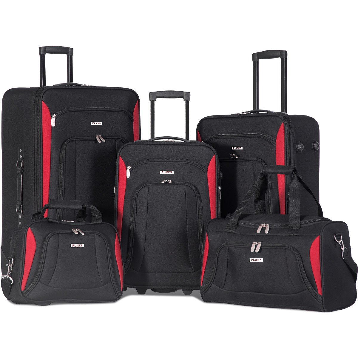 Merax Newest 5 Piece Set Expandable Rolling Suitcase Softshell Deluxe Luggage Set (Black.)