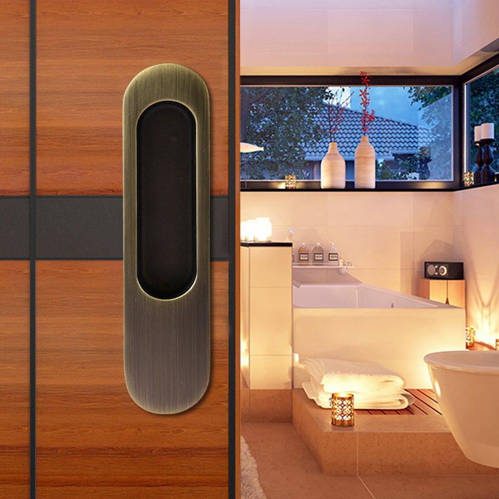 CCJH Invisible Door Handle for Sliding Barn Wooden Door Furniture Hardware Ellipse Shaped (6.8''L1.5''W Bronze)
