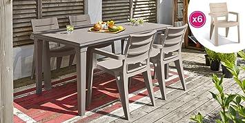 ALLIBERT Salon de Jardin: Table + 6 fauteuils Cappuccino