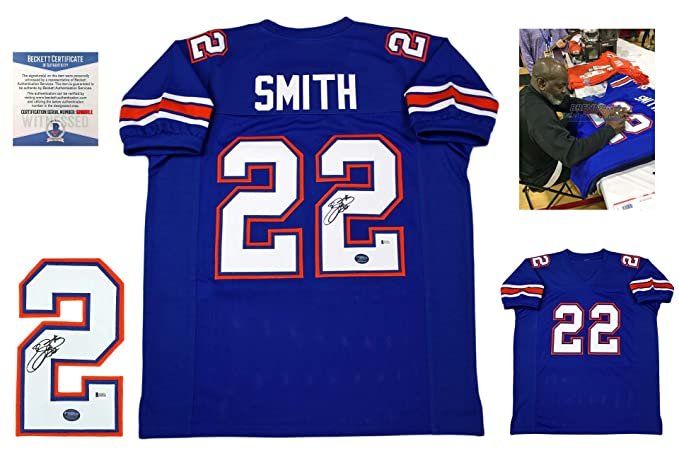 8b8c35b8b5b Emmitt Smith Signed Custom Jersey - Beckett - Autographed w/ Photo - Royal  at Amazon's Sports Collectibles Store