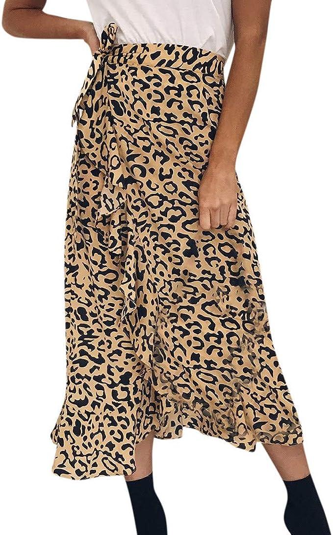 Cinnamou Faldas Largas Mujer, Falda de Leopardo con Volantes ...