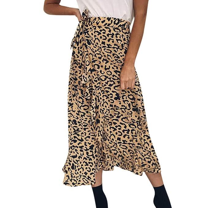 Cinnamou Faldas Largas Mujer, Falda de Leopardo con Volantes de ...