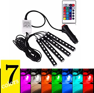4PCS 7 Colors Car Interior Light Strips Neon Decoration LED Lamp Wireless Remote Control Waterproof 9LED Car Atmosphere Lamp for Car Interior Decoration 12V