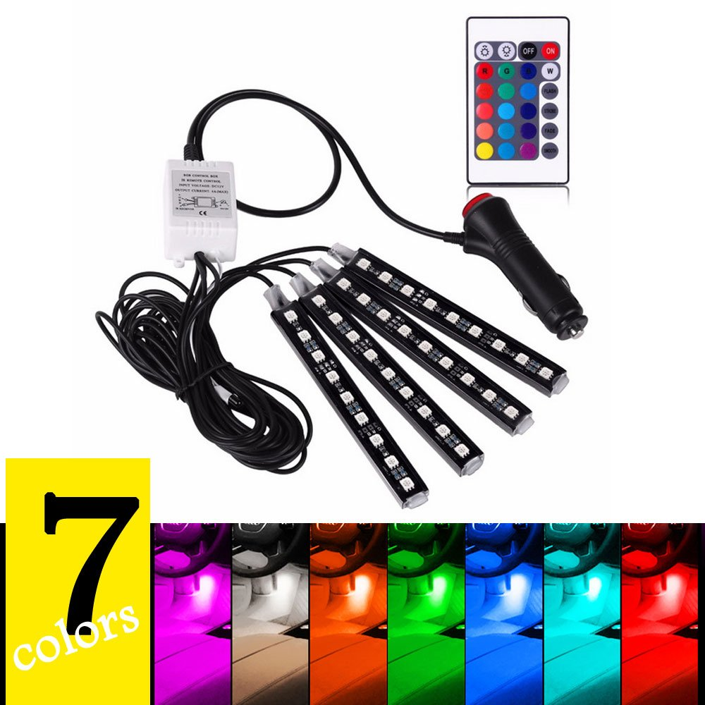 4PCS 7 Colors Car Interior Light Strips Neon Decoration LED Lamp Wireless Remote Control Waterproof 9LED Car Atmosphere Lamp for Car Interior Decoration 12V EasiLife