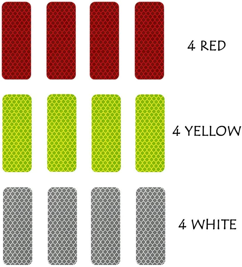 3cm x 8cm 3M Reflective Diamond Grade DG3 Hi-Vis Waterproof Stickers Multi-Color Pack 12 pcs 1.18in x 3.25in