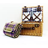 4 Person Henley Style Luxury Picnic Basket Hamper with Accessories and Traditional Style Purple Blanket - Gift Ideas for Mum, Valentines, Mothers Day, Birthday, Wedding, Anniversary, Business and Corporate