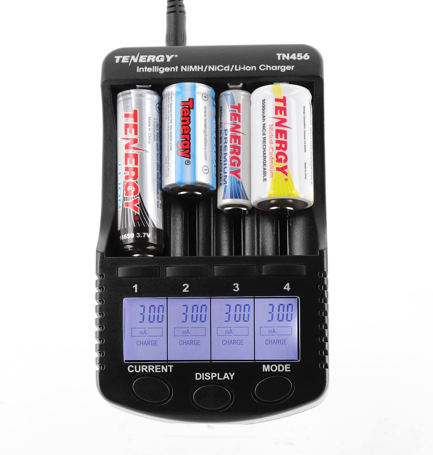 Tenergy TN456 Intelligent Universal Battery Charger with 4 Slots, LCD Display, USB Output, Power Adapter, Rechargeable Battery Charger for Li-ion/NiMH/NiCD Rechargeable Batteries