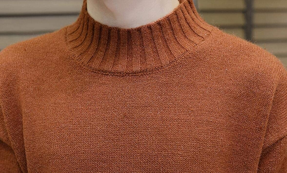 Yayu Mens Stylish Loose Fit Stand Collar Knitting Solid Pullover Sweaters