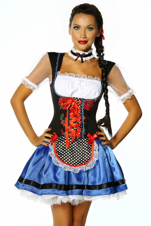 Dirndl Kleid, 56646 in Blau/Schwarz/Weiß