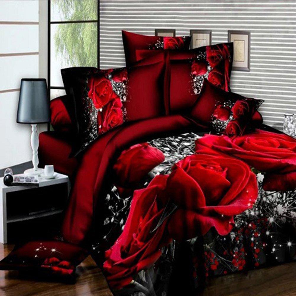 Zehui 4個3d Bigレッドローズフローラル寝具シートウェディング布団カバーシート枕カバーベッドセット B0756X2DBV