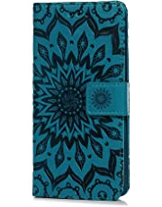 Tophung Huawei P20 Lite Case, Premium PU Leather Flip Notebook Wallet Case Sunflower Embossed with Kickstand Credit Card Slot Holder TPU Bumper Folio Protective Cover for Huawei P20 Lite Blue