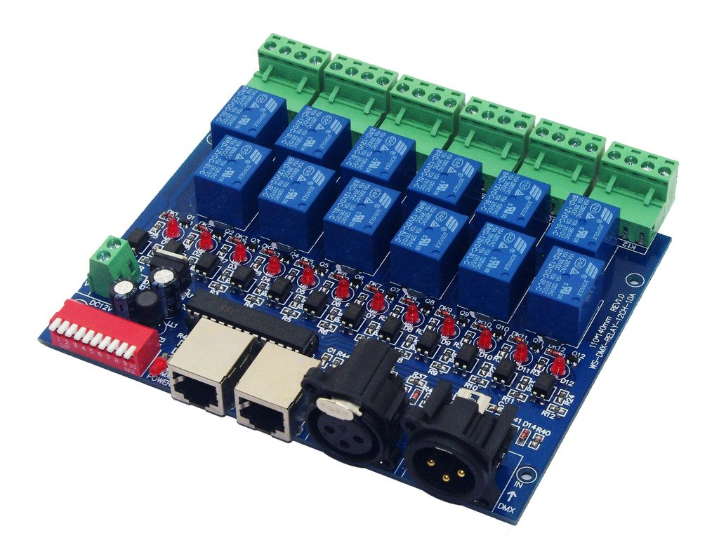 12 Channel 10A DMX512 Controller Relay Switch Converter DMX Dimmer 12CH Relay Control COLORIDO-ES