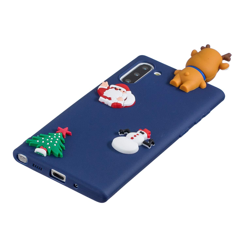 Felfy Cover Compatibile con Galaxy Note 10 Christmas Funda,Compatibile con Galaxy Note 10 Cacasa Silicona 3D Caricatura Ciervo Navidad Case Ultrafino Suave TPU Silicona Mate Antigolpes Funda,Negro