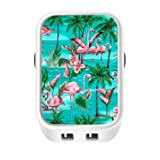Travel Wall Charger, Dual USB Speedy 5V/3.1A Cellphone Charger Adapter Flamingo Pattern for iPad, iPhone and Android Cellphone