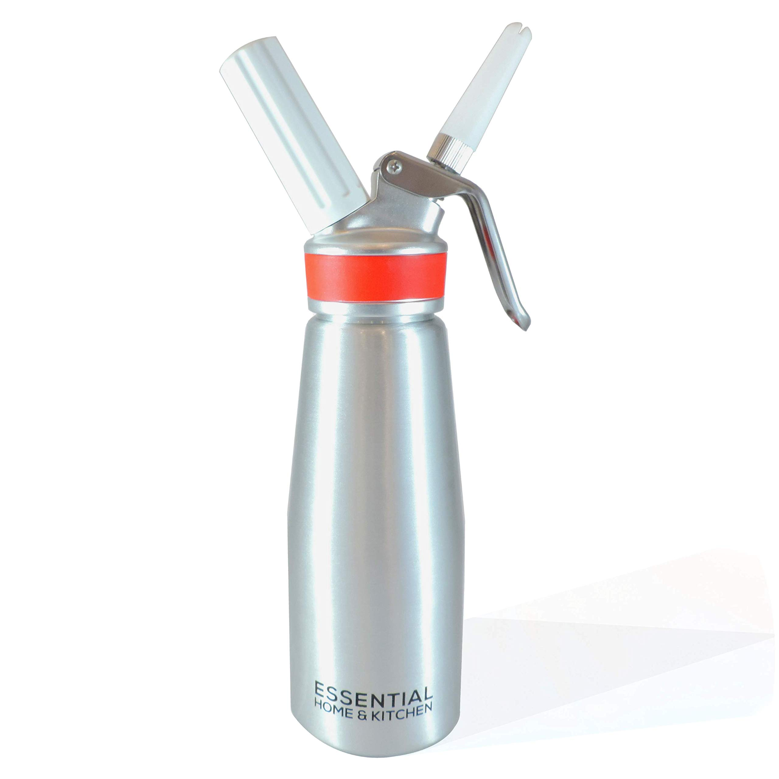 Whipped Cream Maker Aluminum Whipping Siphon Canister Whip Dispenser Whipper uses ISI Nitrous Co2 Chargers Cartridges with Holder and Stainless Steel Brush for Professional Kitchen Gourmet Coffee