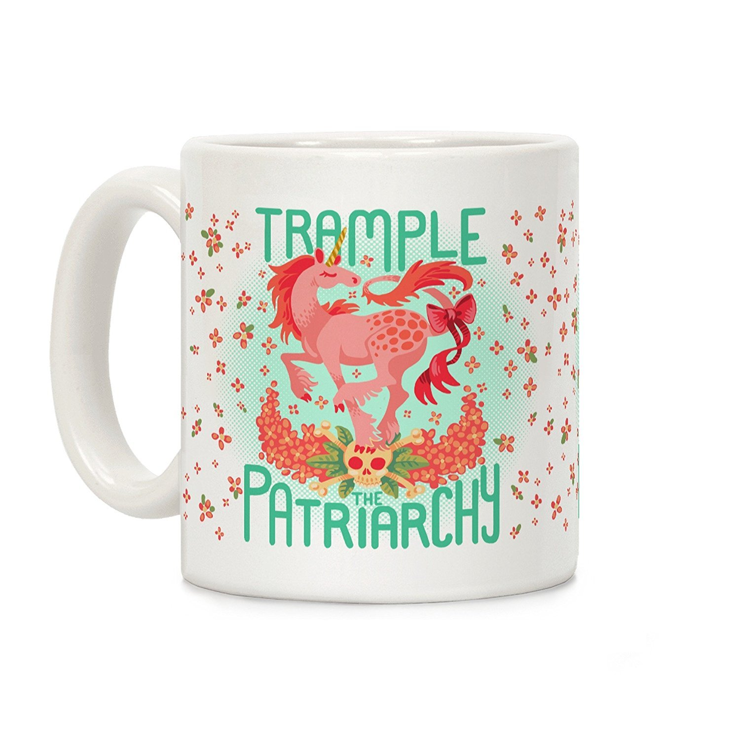 LookHUMAN Trample The Patriarchy White 11 Ounce Ceramic Coffee Mug