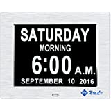 Day Clock-Upgrade XULI® Digital Clock The Original Memory Loss Digital Calendar Day Clock with Extra Large Non-Abbreviated Day & Month(Silver)
