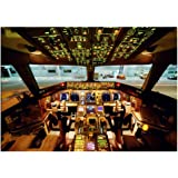 Planes 10018, Cockpit, Laminated Wall Poster Deco Illustration Photo Reproduction Fine Art Print with Colourful Design. Size: B2, 500 x 707 mm