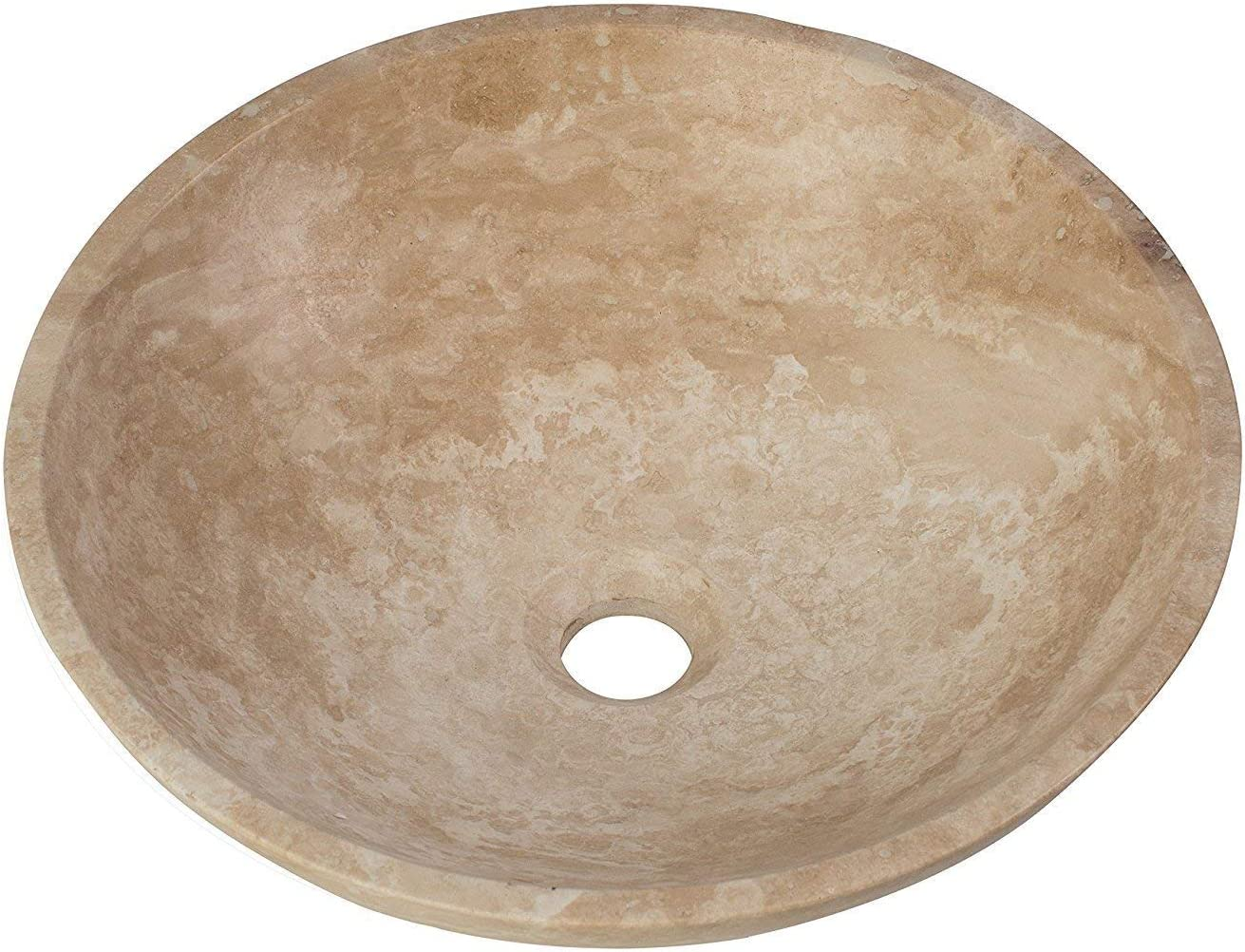 MAYKKE Helena 16 Round Stone Vessel Sink Modern Beige and White Natural Stone Travertine Sinks for Bathroom Vanity Cabinet White Jade Travertine, ASA1007101