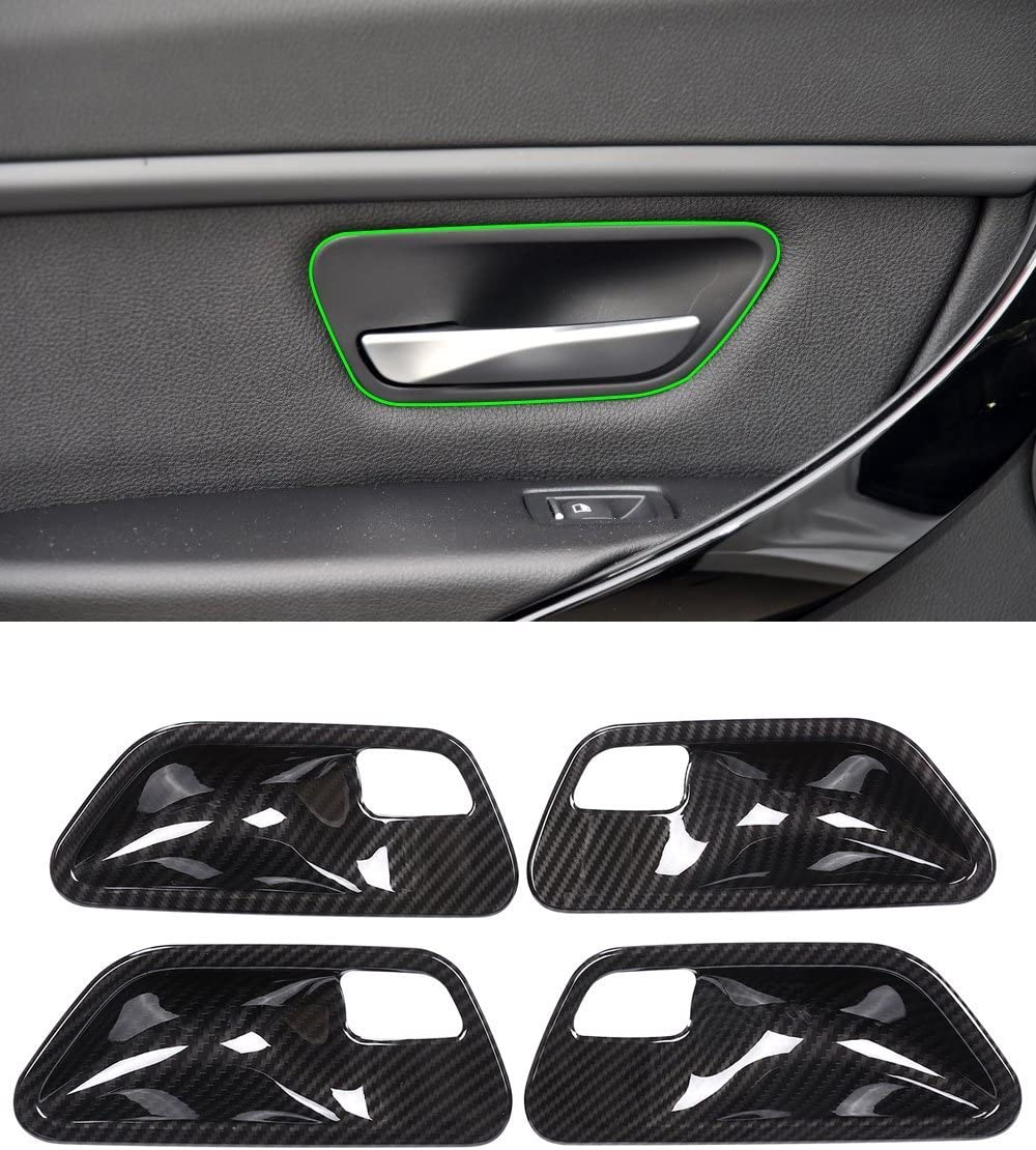 Carbon Fiber Style Interior Door Handle Pull Cover For BMW 3 4 series F30 F32