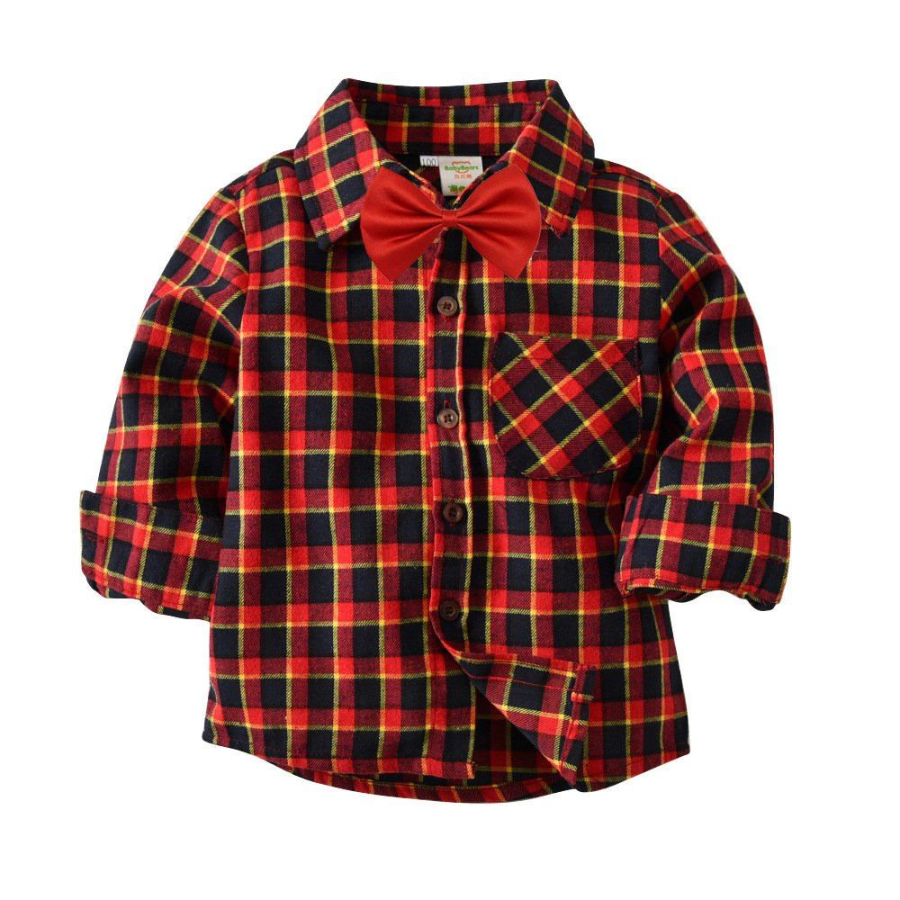 Fengbay Boys Cotton Long Sleeve Plaid Shirts with Tie Button Down Collared Casual and Tie 07 Red Tie 5T