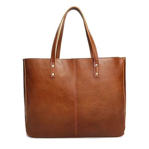 a57b8141b7458 Neuleben Vintage Damen Handtasche echtem Leder Shopper Schultertasche  Umhängetasche Ledertasche (Braun)  Amazon.de  Koffer