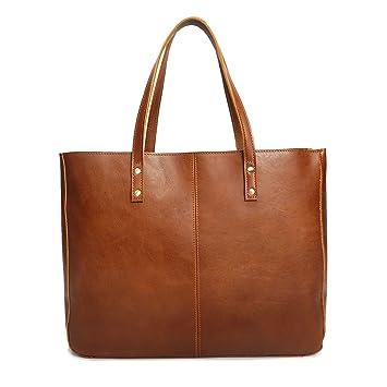 a11d86e26e5aa8 Neuleben Vintage Damen Handtasche echtem Leder Shopper Schultertasche  Umhängetasche Ledertasche (Braun)