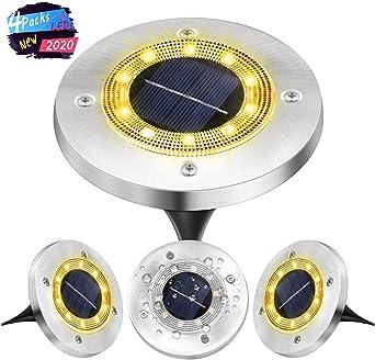 Luz Solar Jardin Decoracion Exterior 10 LEDs,4Pcs VIRIDI 120LM Focos LED Exterior Solares Luces IP65 Acero Inoxidable Lawn Lámparas de Suelo Spotlight Iluminación para Paisaje Driveway Patios Caminos: Amazon.es: Iluminación
