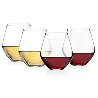 Godinger Wine Glasses, Stemless Goblet Beverage Cups, European Made - 17oz, SET OF 4