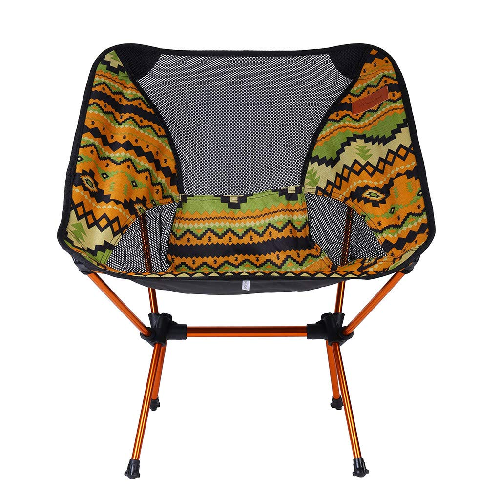 Flurries  Folding Camping Backpack Chair - Outdoor Lightweight Portable Seat Stool with Back - One Bag Carrying - Comfortable for Cards Patio Beach Picnic Hunting Fishing Hiking Trip (Yellow)
