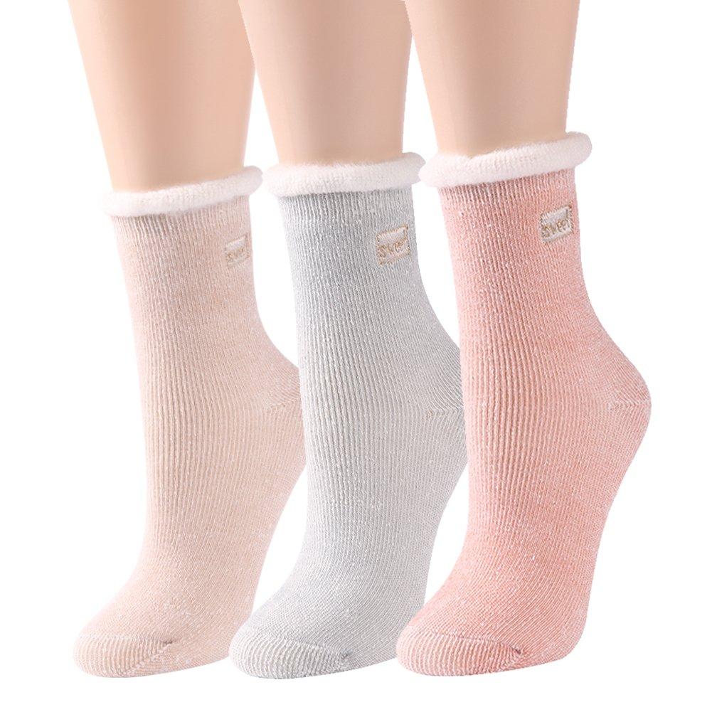 J'colour Women's Thick Slipper Socks Warm Winter Soft Knitted Floor Socks 3 Pairs J1700450345