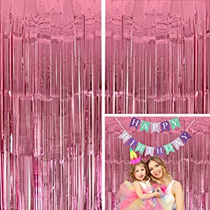 Moohome 2 Pack 3ft x 8ft Baby Pink Foil Curtains Metallic Tinsel Fringe Curtains Shimmer Door Window Curtain Backdrop for Birthday Wedding Bridal Shower Baby Shower Photo Booth Party Decorations