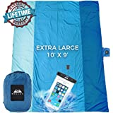 WELLAX Sandfree Beach Blanket - Huge Ground Cover 9' x 10' for 7 Adults - Best Sand Proof Picnic Mat for Travel, Camping…