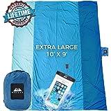 Chillax WellaX Sand Free Beach Blanket - Huge 9' x 10 7 Adults - Best Mat Picnic, Camping, Hiking Music Festivals (Blue)