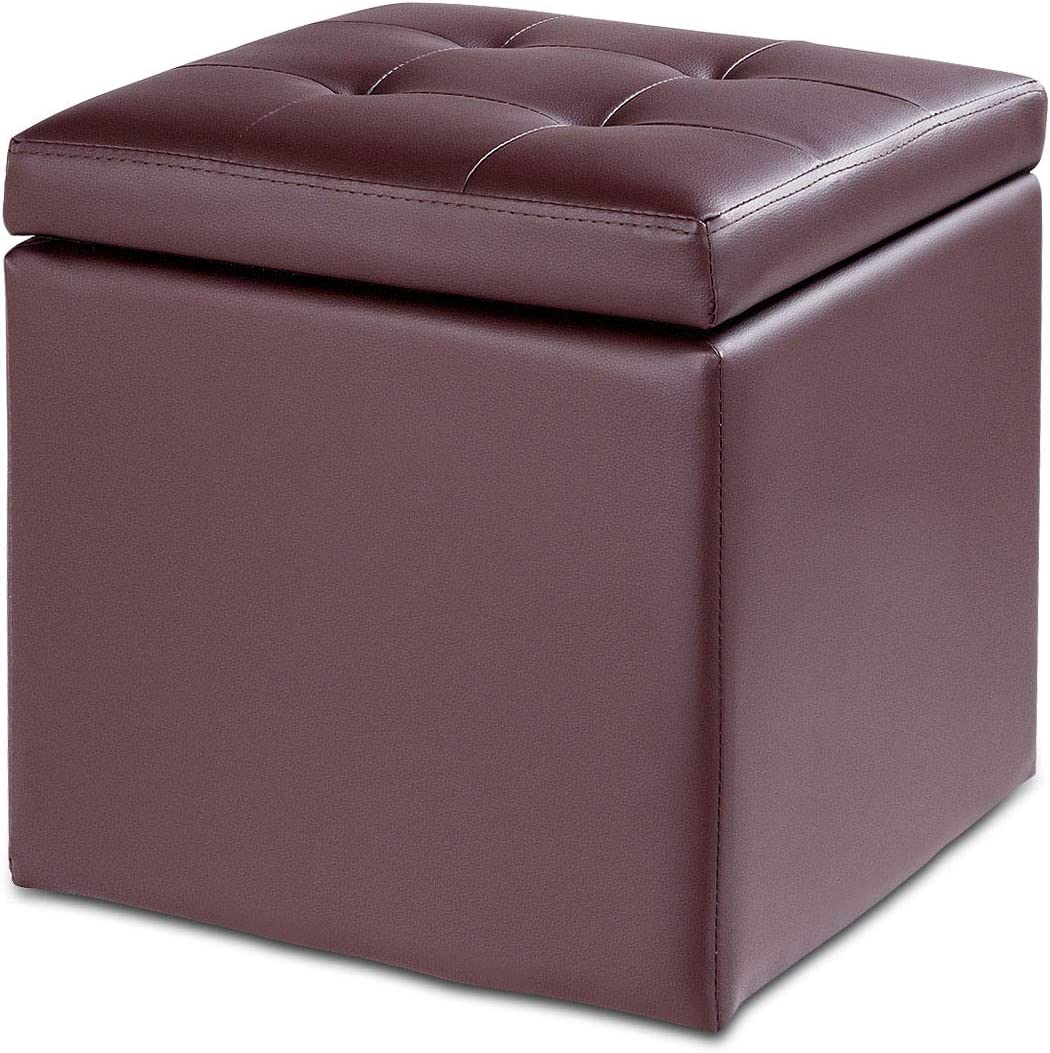 Giantex 16 Cube Ottoman PU Pouffe Storage Box Lounge Seat Footstools W Hinge Top for Home Living Room Bedroom Furniture Storage Ottoman 16 16 16 Without Feet Footrest Stool Brown