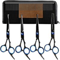 Dog Grooming Scissors Set - YOUTHINK 5 Pieces Stainless Steel Grooming Trimmer Kit with Cutting Scissors Thinning Shear Curved Scissors Grooming Comb for Cat Dog and More Pets