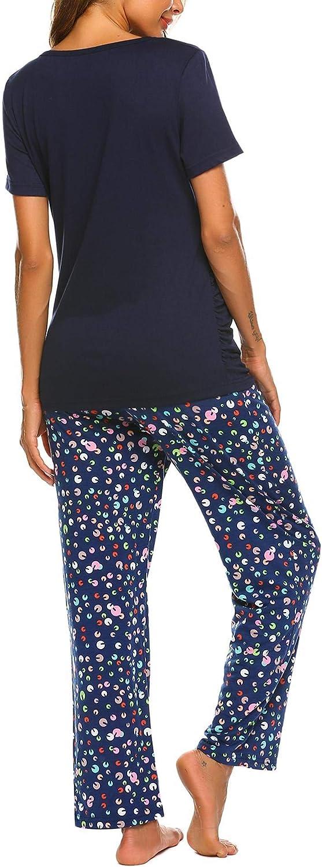 MAXMODA Damen Stillschlafanzug Kurze /Ärmel Stilltops mit Stillfunktion Kn/öpfe Stillpyjama Hose mit floralem Muster