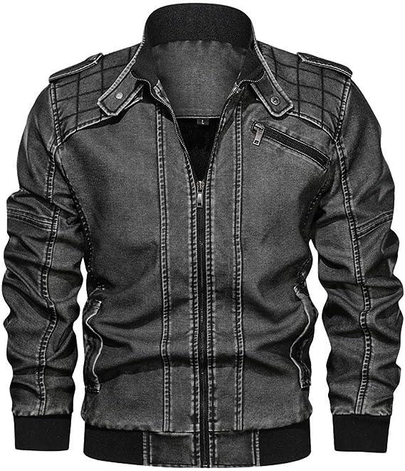 メンズPUジャケット、ビンテージジップスマートカジュアルバイカースタイルジャケット、バイカー生き抜く