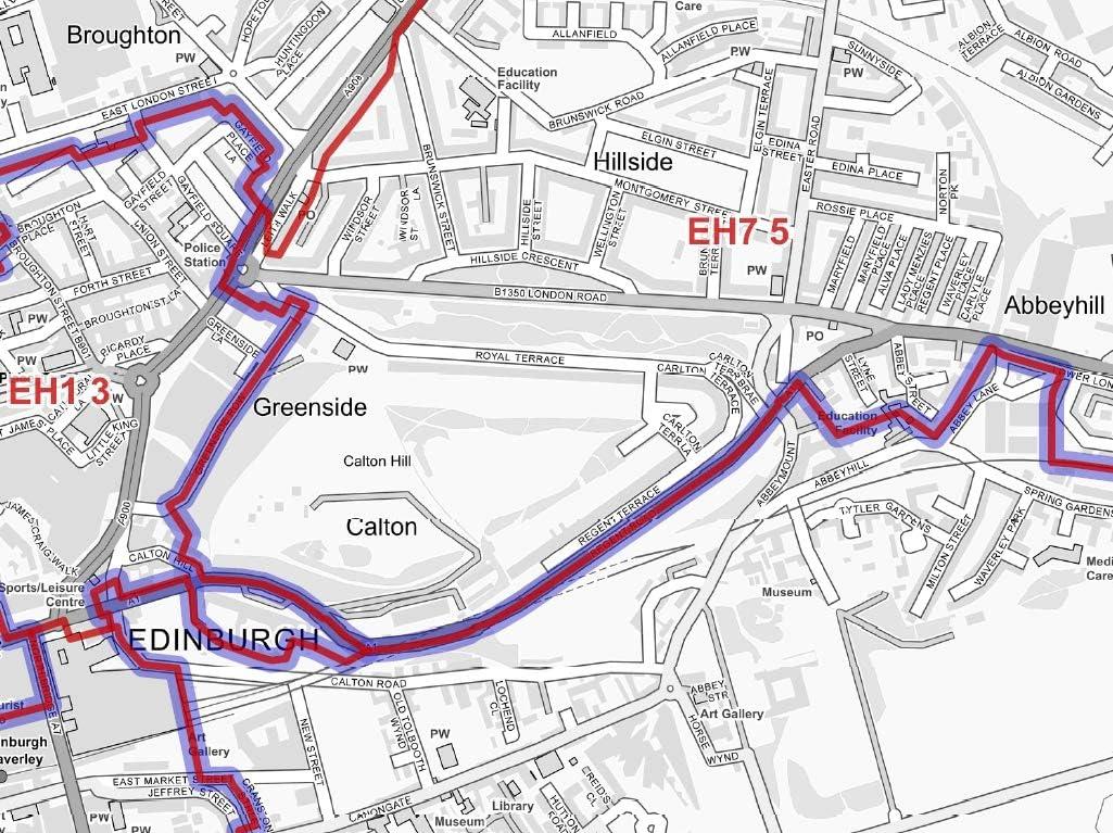 Central Edinburgh Greyscale Double Sided Lamination Postcode Street Map