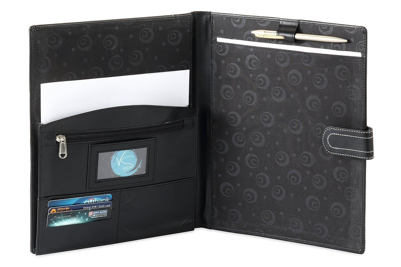 HIDE & SLEEK Artificial Leather Conference Folder Multi Pockets Black
