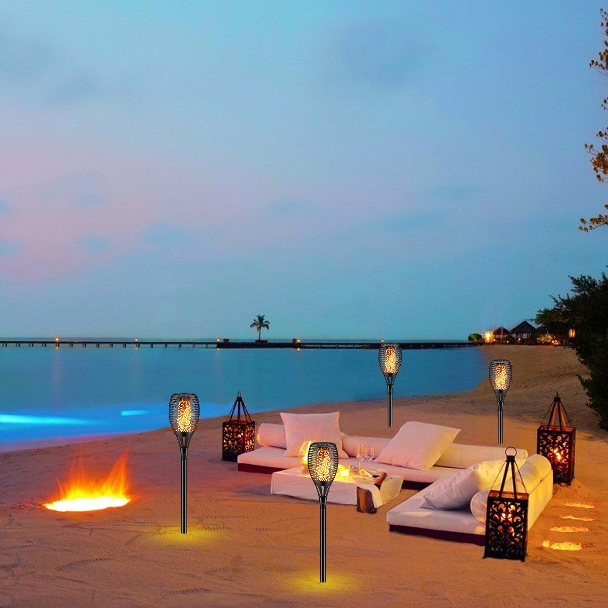 Solar Torch Light with Flickering Flame,Fire Effect Lantern,Dancing Flame,Solar Garden Light, Dust to Dawn,Outdoor Waterproof Garden Decoration, Solar Powered Stick Light ZKEE(Set of 4) by zkee (Image #6)