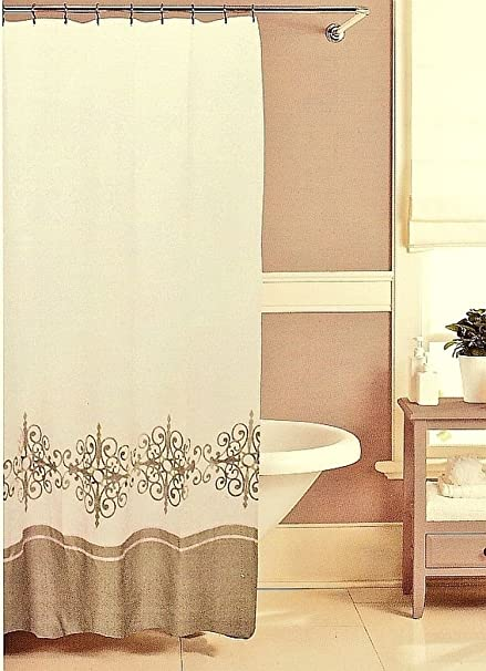 Raymond Waites Aston Medallion Taupe White Embroidered Fabric Shower Curtain