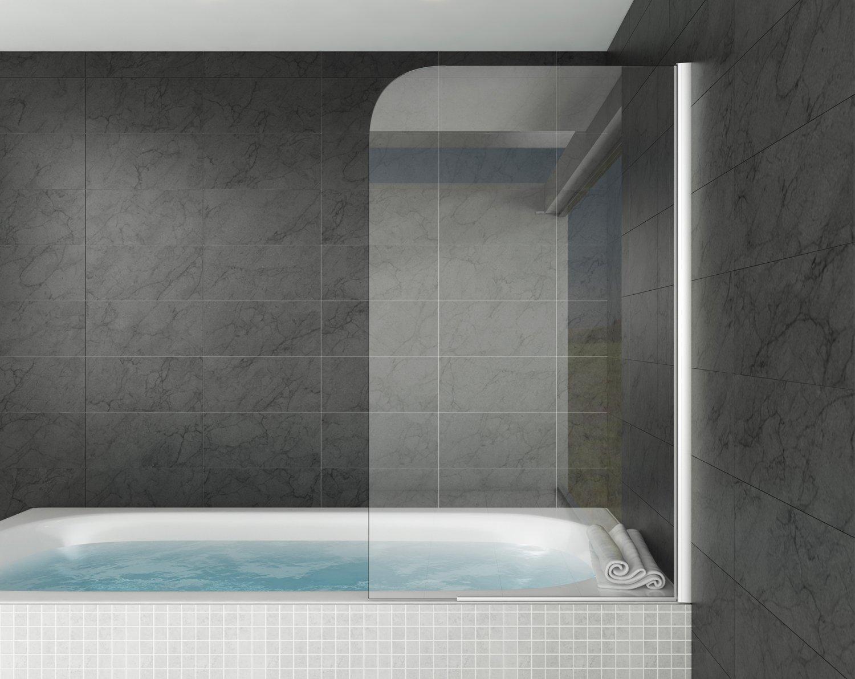 Badewanne Torino 5mm mit Nanobeschichtung 80 x 140 cm Duschwand Duschabtrennung Badewannenaufsatz Badplaats