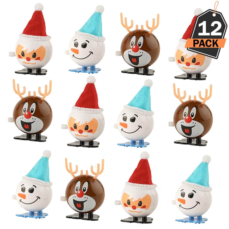 Kompanion 12 Stü ck Weihnachten Aufziehspielzeuge, Strumpf- und Geschenktü te-Fü llung, Geschenke, Party Gefä lligkeiten, 3 Verschiedene Designs pro Set