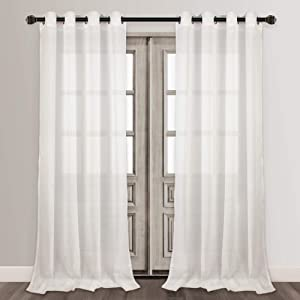 VOILYBIRD Vitoria Semi Sheer Curtains Linen Textured 96 Inches Long for Living Room, Country Curtains for Farmhouse (W54 x L96, 2 Panels, White)