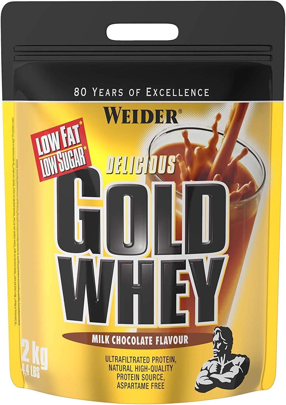 Weider Gold Whey Sabor Chocolate - Concentrado de Proteína de Suero de la Más Alta Calidad, Fácil Absorción y Digestión, Baja en Grasas y Azúcares, ...