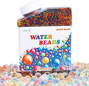 Liberry Water Beads for Kids Non Toxic 50000 Water Gel Beads Rainbow Mix Vase Filler Jelly Water Growing Ball for Spa Refill, Kids Sensory Toys, Vases, Plants, Wedding and Home Decoration
